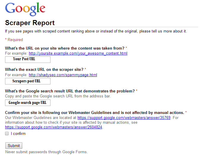 Google scraper report