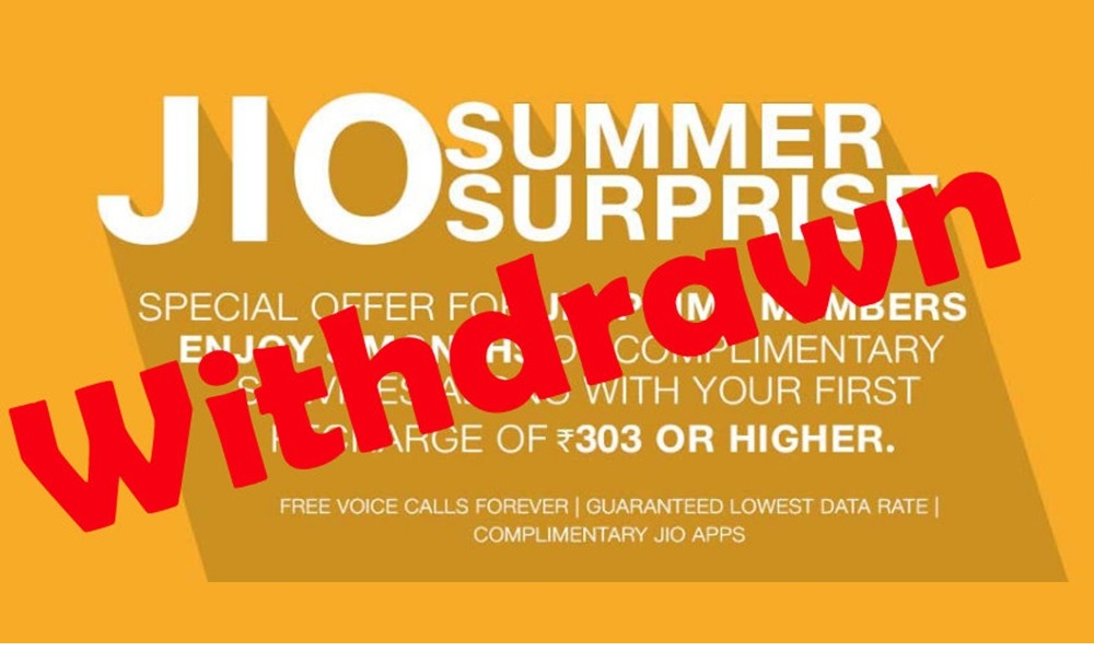 Reliance Jio Withdraws 3 Months Free Summer Surprise Offer After TRAI Intervention