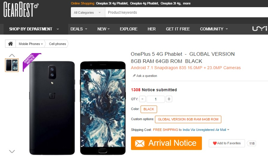 OnePlus 5 GearBest Listing