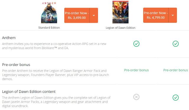ANTHEM Pre-order Bonus