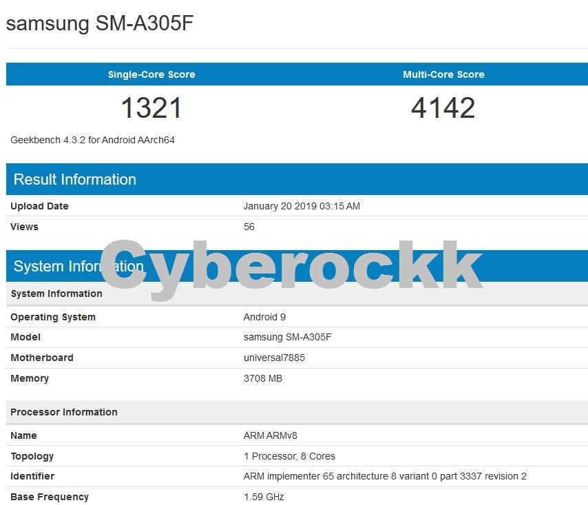 Galaxy A30 Geekbench