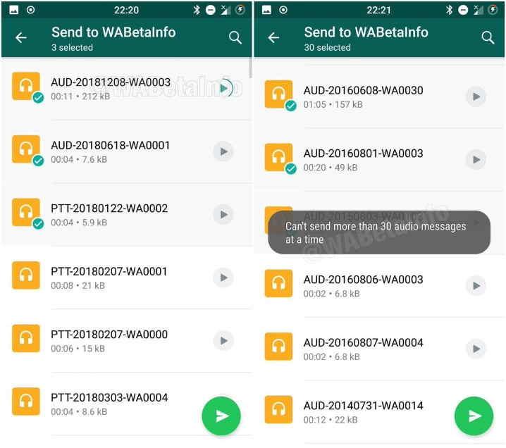 WhatsApp 2.19.1 audio picker