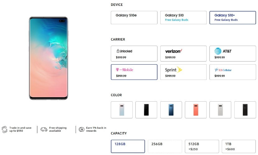 Galaxy S10 Pricing
