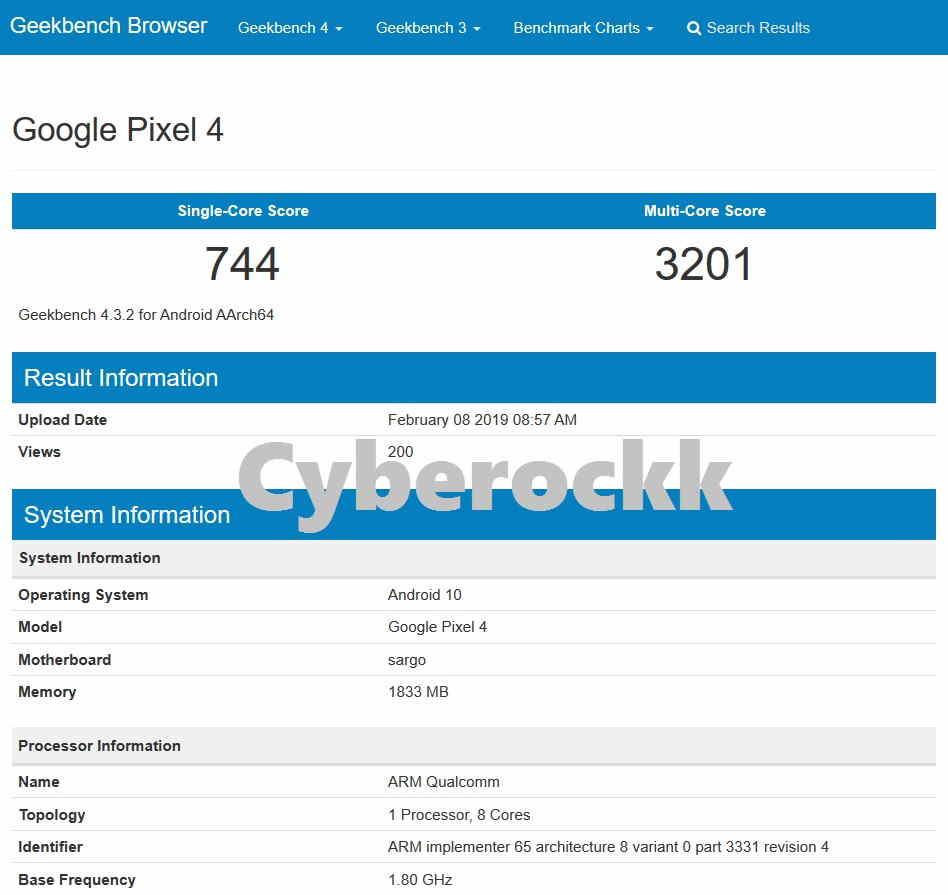 Google Pixel 4 Geekbench