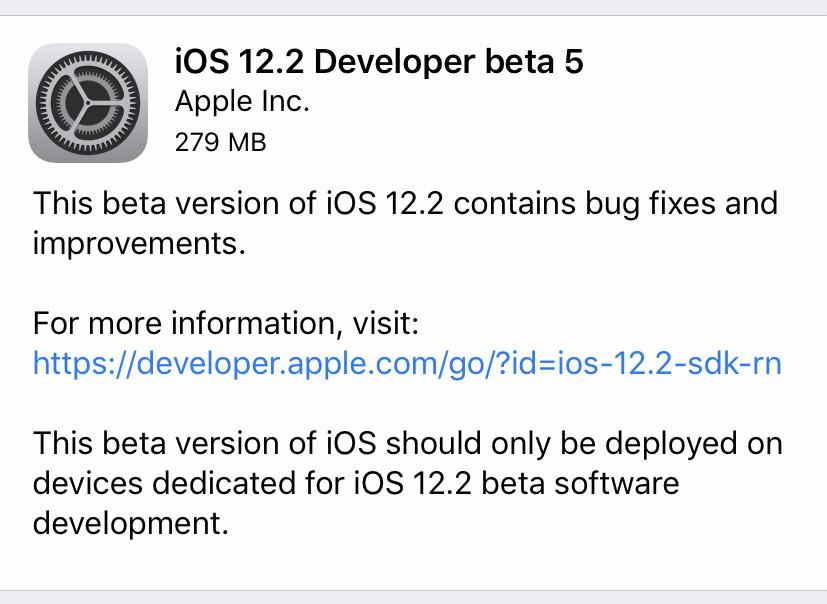 iOS 12.2 Developer Beta 5