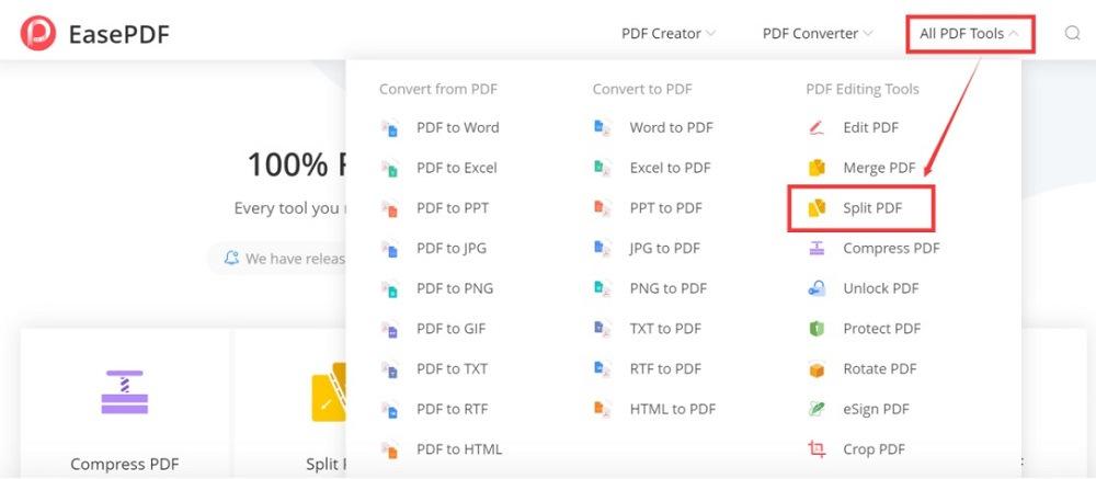 EasePDF Homepage All PDF Tools Split PDF